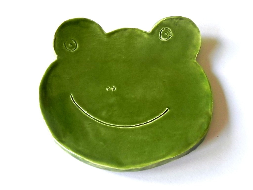 Frog Ceramic Plate Green Dish Animal Spoon Rest St Patrick Day Gift - Ceraminic
