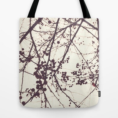 Tote Bag, Berries Photo Bag, Botanical, Winter, Tree Branches Tote, White and Plum, Farmer's Market Bag, Book Bag 16x16, 18x18 - StudioClaire