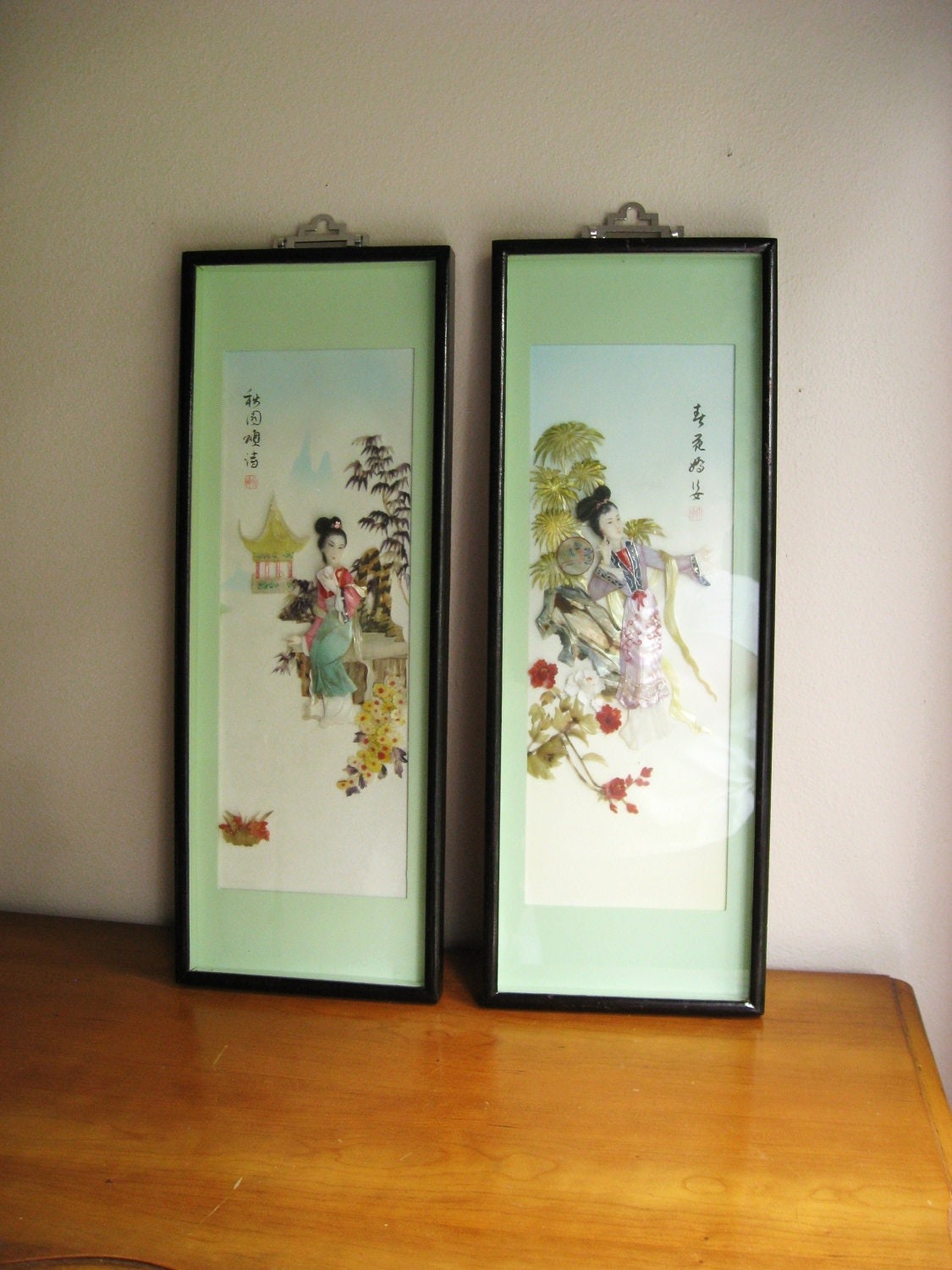 vintage asian mother of pearl abalone shell by. Black Bedroom Furniture Sets. Home Design Ideas