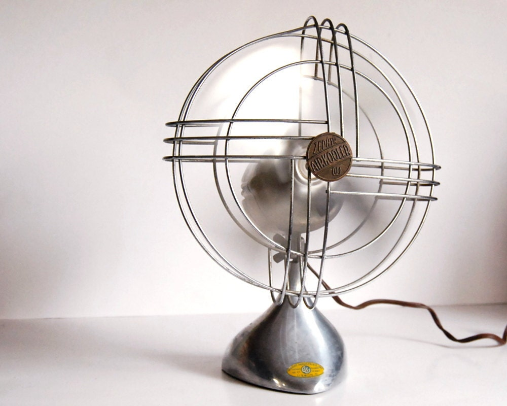Vintage Fan Art Deco Zephyr Airkooler Chrome And By