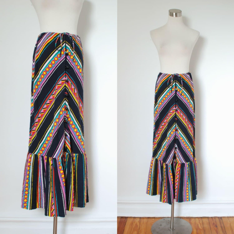 vintage maxi skirt 1970s colorful aztec by lapoubellevintage