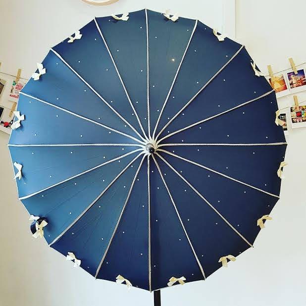 Bow Ribbed Umbrella Mega BowTastic Umbrella Love Umbrellas hand sewn umbrella custom made umbrella wedding umbrella luxury umbrella