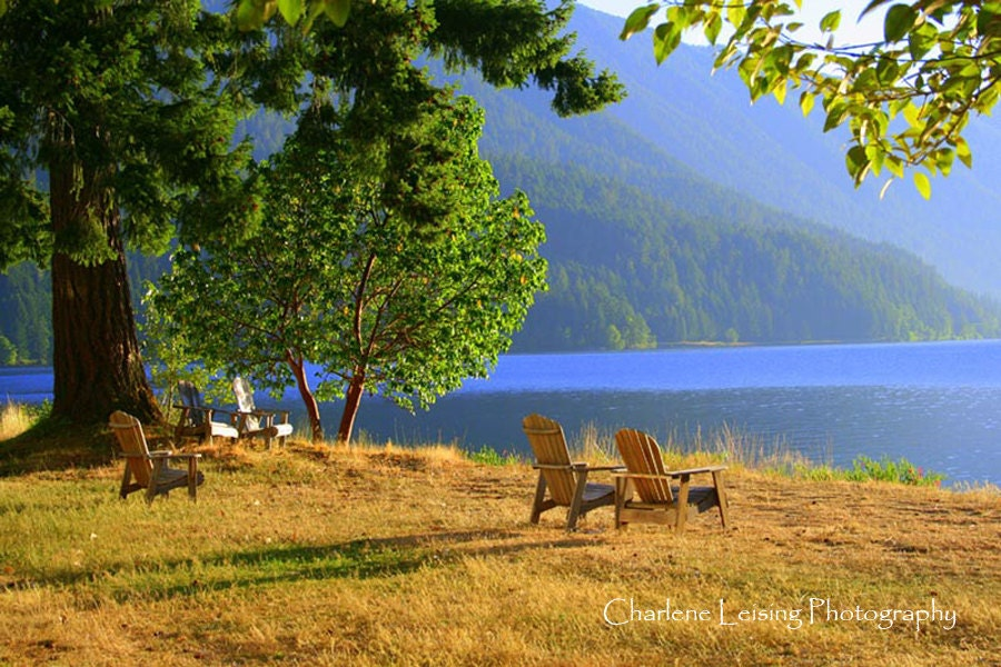 crescent lake beach with adirondack chairs for relaxing cascade