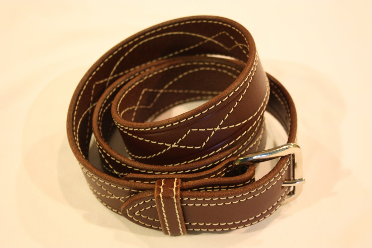 36 amish made leather belt with decorative by