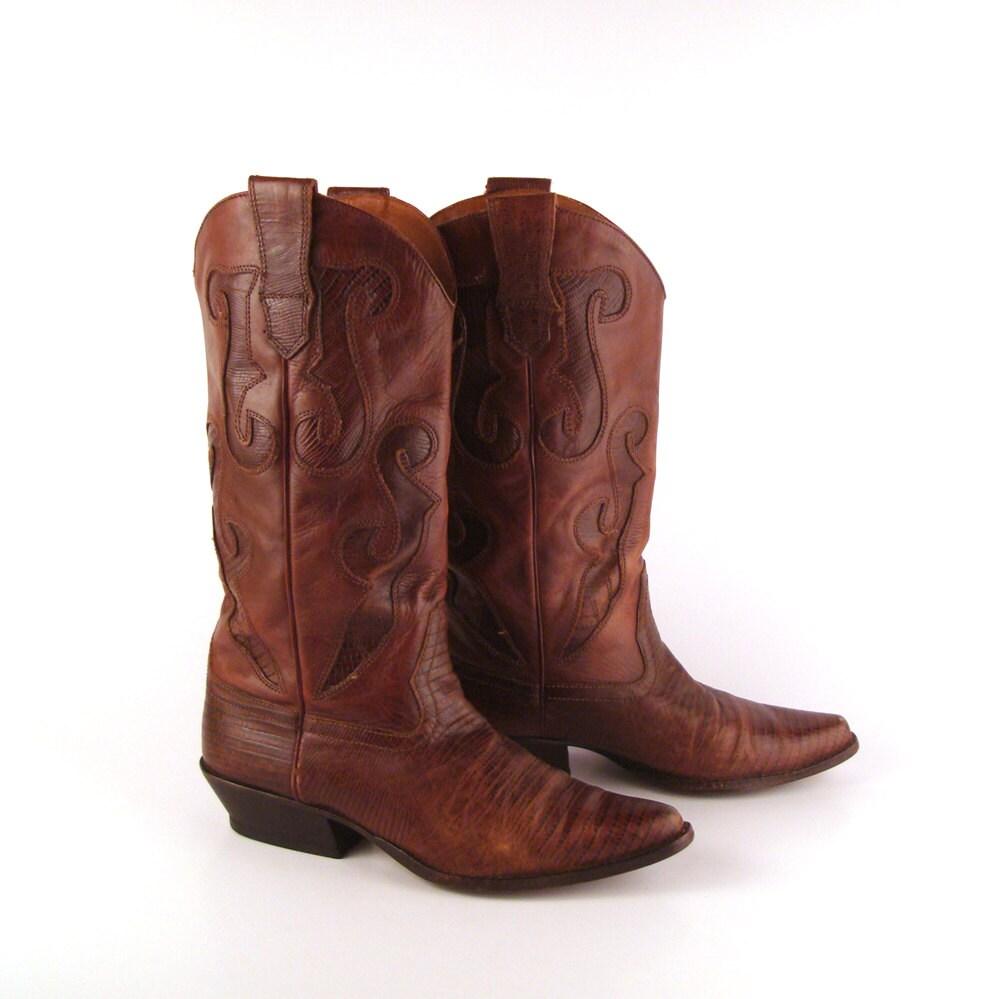 brown cowboy boots vintage 1980s nine west by