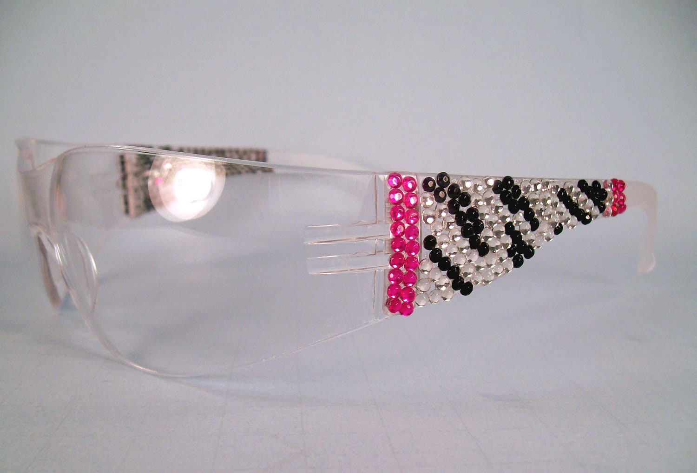 Zebra Rhinestone Safety Glasses With Pink By