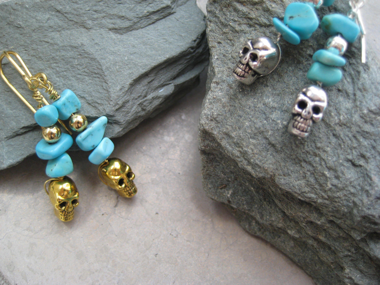 Turquoise earrings skull earrings bohemian earrings festival jewellery beaded dangly earrings gold earrings silver earrings