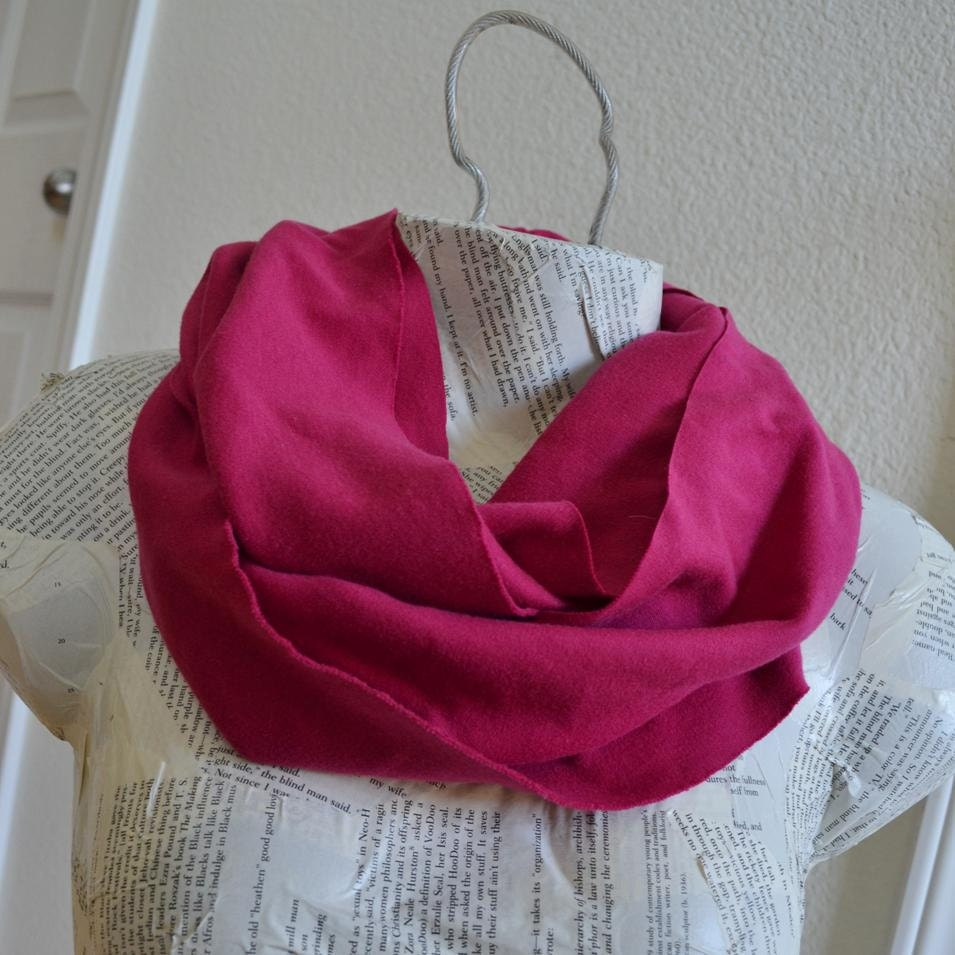 Raspberry Pink Infinity Scarf from Cotton Knit