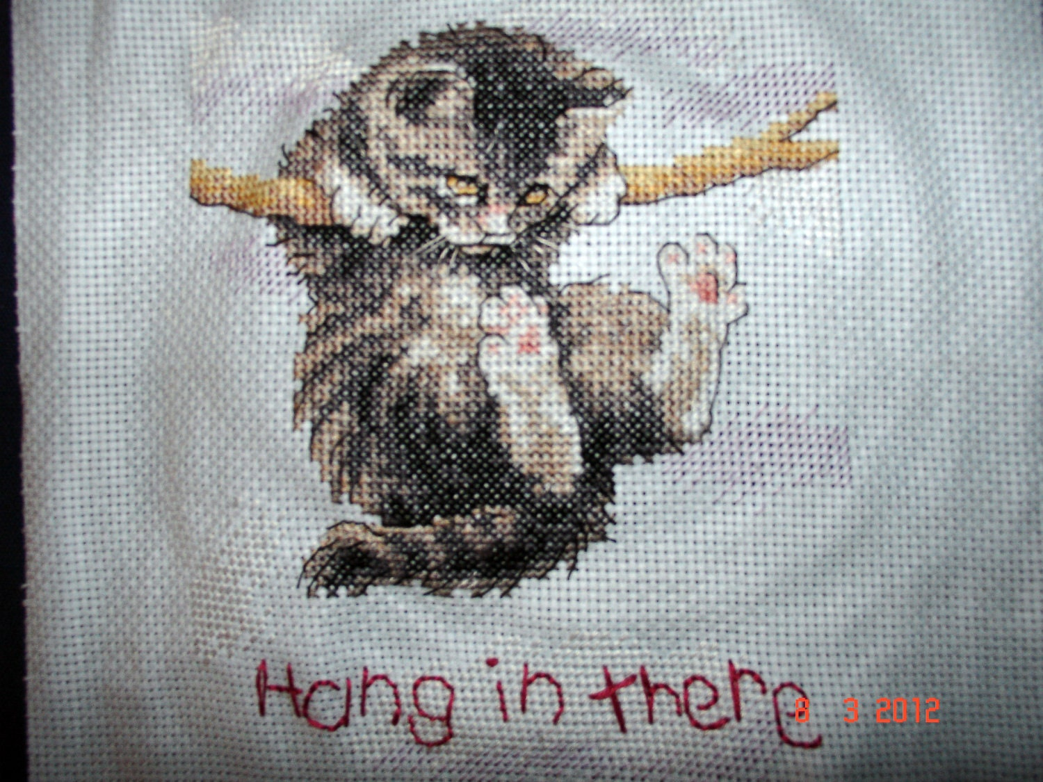 Kitten cross-stitch 'Hang in There'