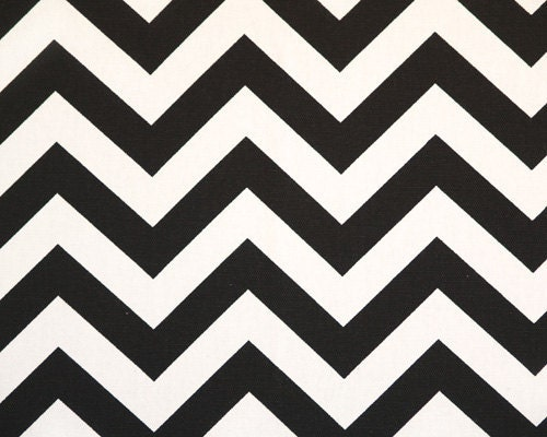 "Yard ""Zig Zag"" Fabric in Black and White Chevron Print, End Of Bolt"