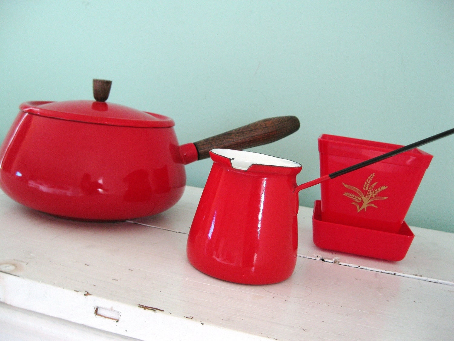 The Red Collection... Vintage Red Enamelware Cooking Saucepan Pot with Lid, Turkish Pot and Planter
