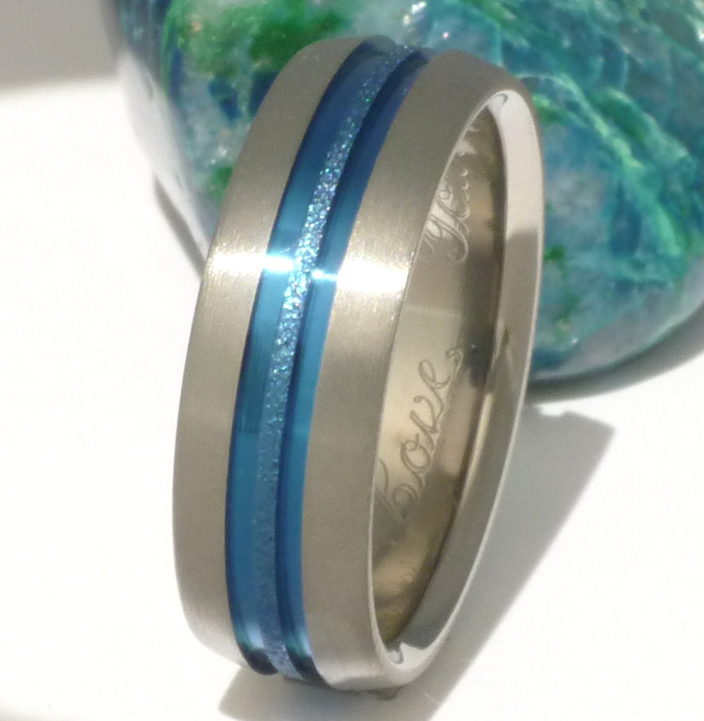 Thin Blue Line Titanium Wedding Band b16 by TitaniumRingsStudio