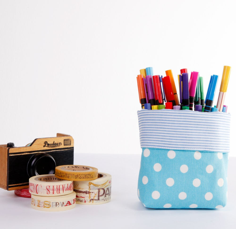 Mini Fabric Basket Storage Organizer Bin - Blue Polka Dots - LoveJoyCreate
