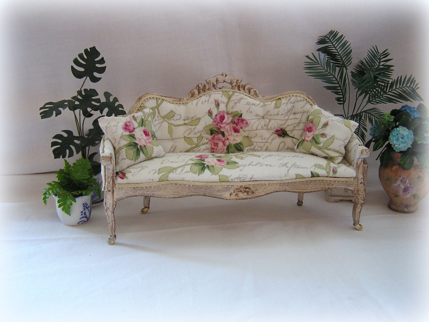 Dollhouse Miniature Shabby Chic Sofa By Miniabuela On Etsy