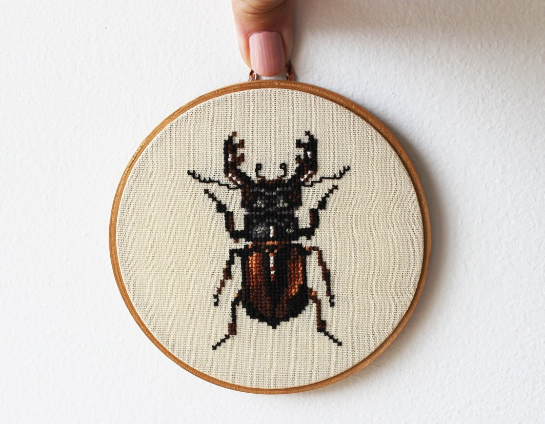 Stag beetle. Stag bug. Hands embroidery in wooden hoop. Wall decor. Organic. Woodland. Made to order. -10% discount code oct2012