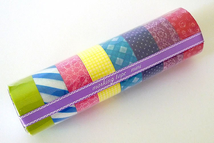 Japanese Washi Tape MINI Starter Kit MEDIUM (C) Set of 8 Masking Tape rolls- PrettyTape 157ft total