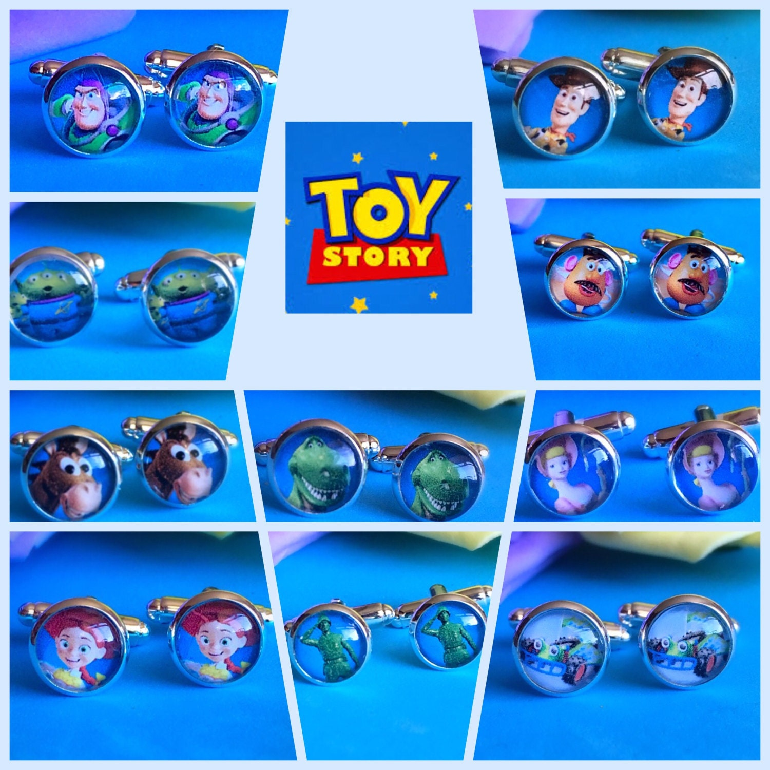 Toy Story Character Cufflinks. Woody Buzz Jessie Bow Rex Mr Potatohead RC Army Man