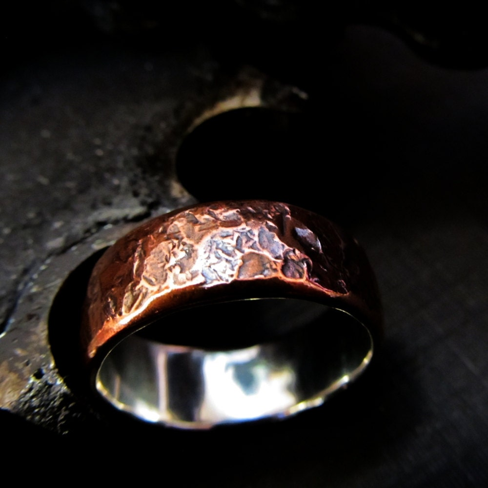 Items similar to mens wedding ring copper and fine silver for Mens copper wedding rings