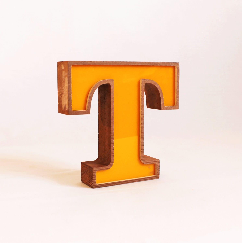 Yellow Letter Wooden T, Block letter T, Vintage 1985 Letter T, Self Standing letter T, YELLOW - TheCommonSign