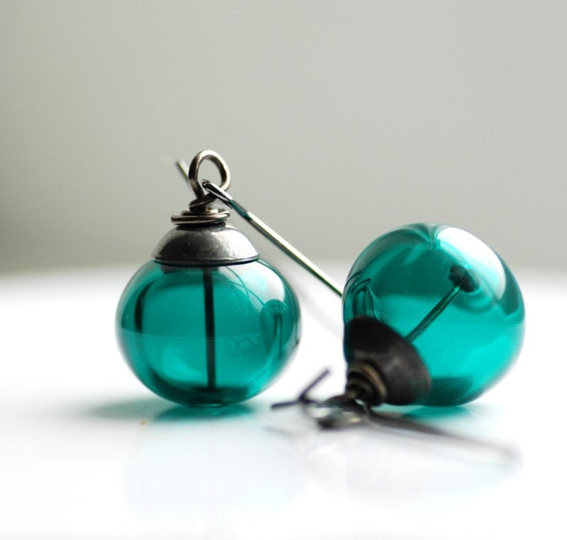Teal Earrings, Dark Teal Earrings, Dangle Earrings, Teal Jewelry, Peacock Wedding, Beach Wedding Jewelry, Simple Earrings - Deep Sea - WildWomanJewelry