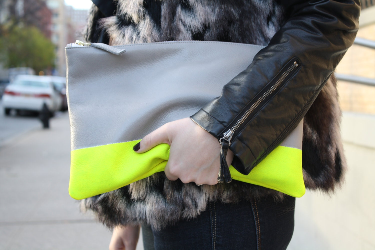 Neon Stripe Leather Clutch