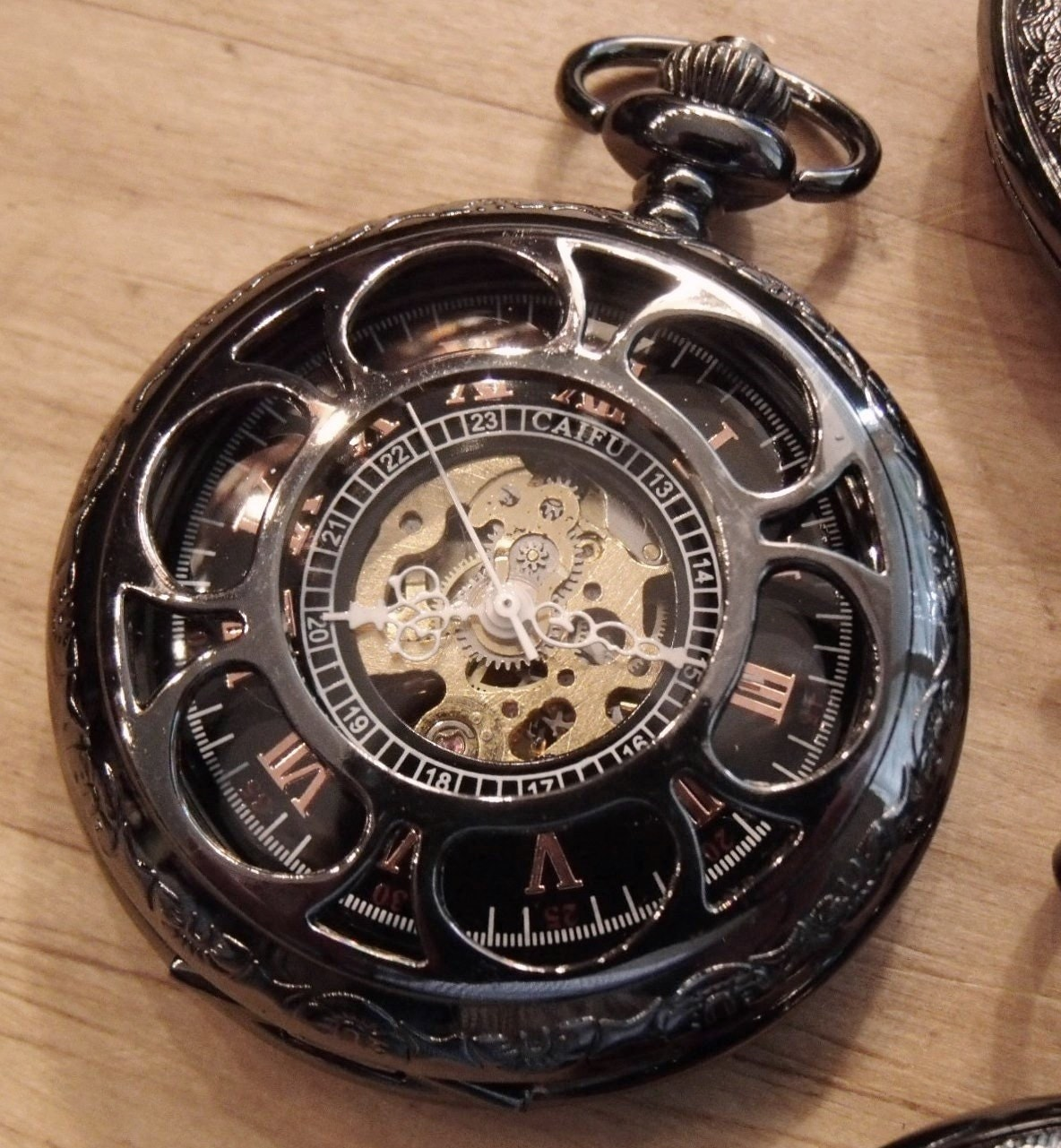 Gunmetal Black Mechanical Pocket Watch with Pocket Chain Copper Dial Groomsmen Gift Ships from Canada - PocketwatchPurveyor