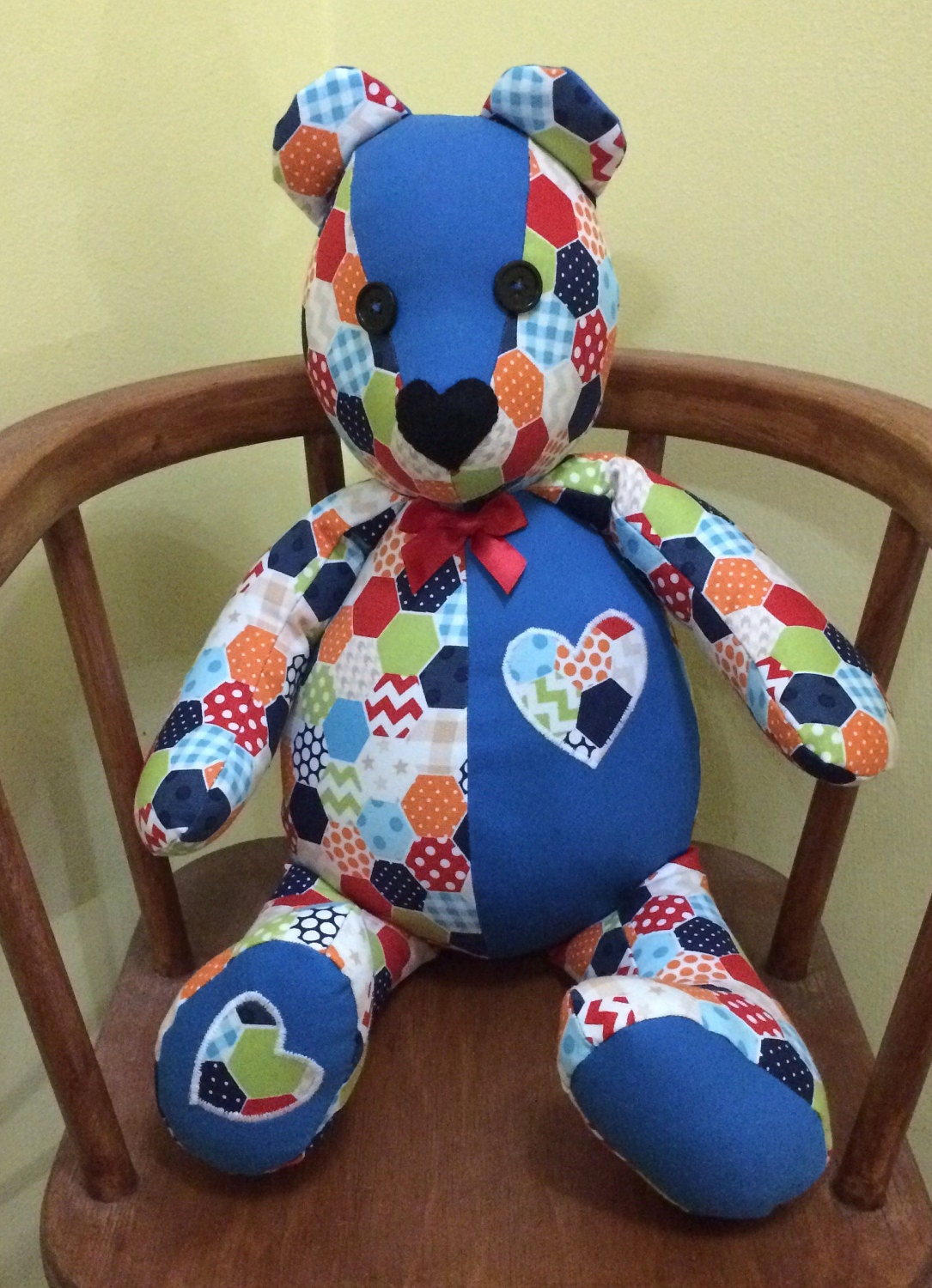 Stuffed patchwork Bear birthday gift handmade with faux Patchwork fabric. Button bow  appliqu hearts detail.