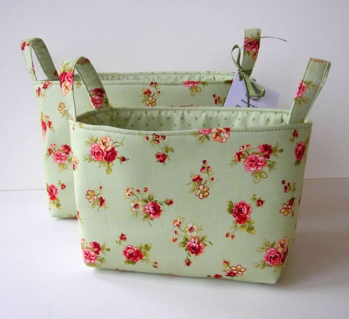 Fabric Organizer Bins Set of 2 - Sage Green Pink Floral Storage Bins - PWOriginals