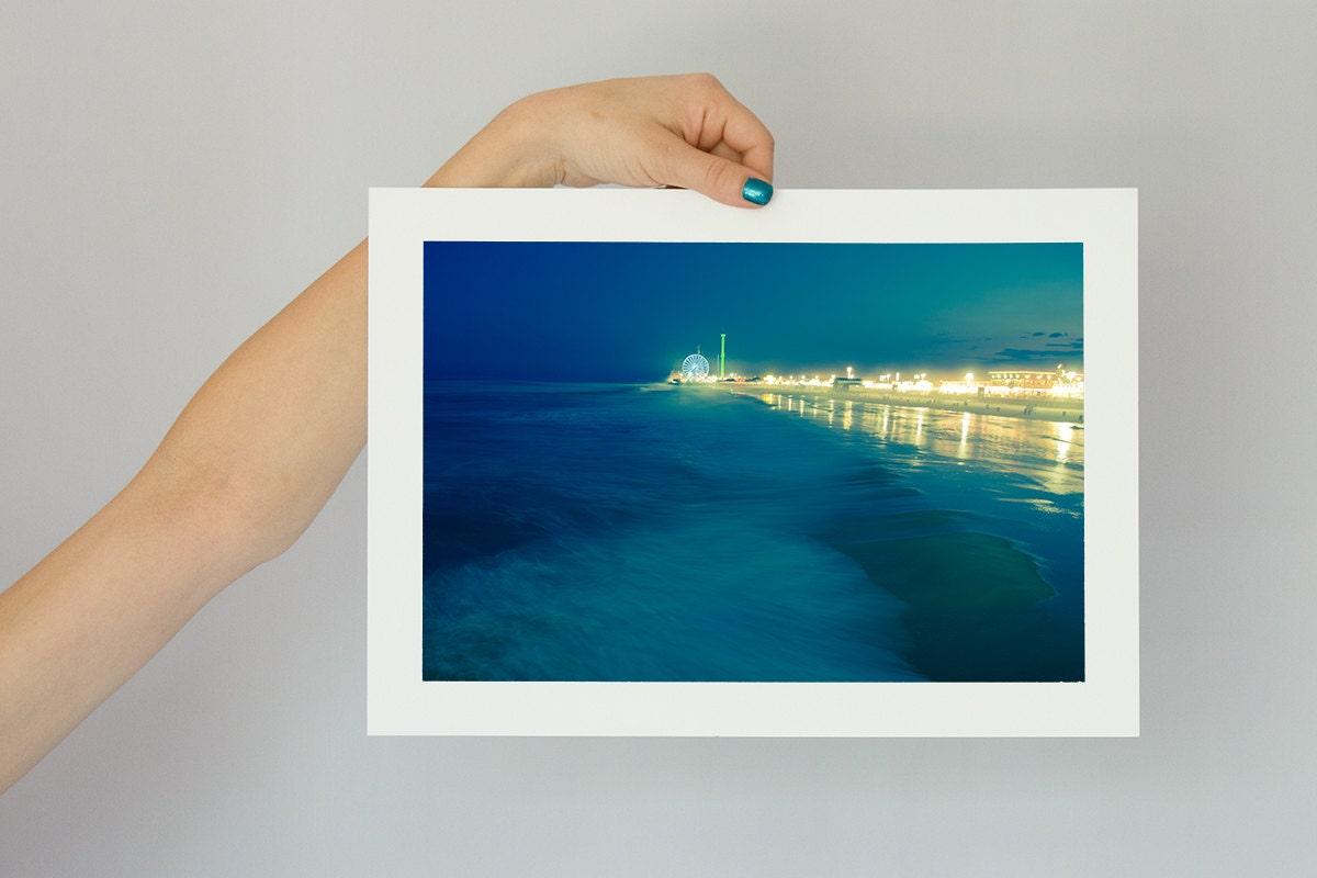 Surreal Photography Art Print Teal Blue, Amusement Park and Ocean Waves, New Jersey Summer Storm, Beach Photograph 8x12 - stoevvalentin