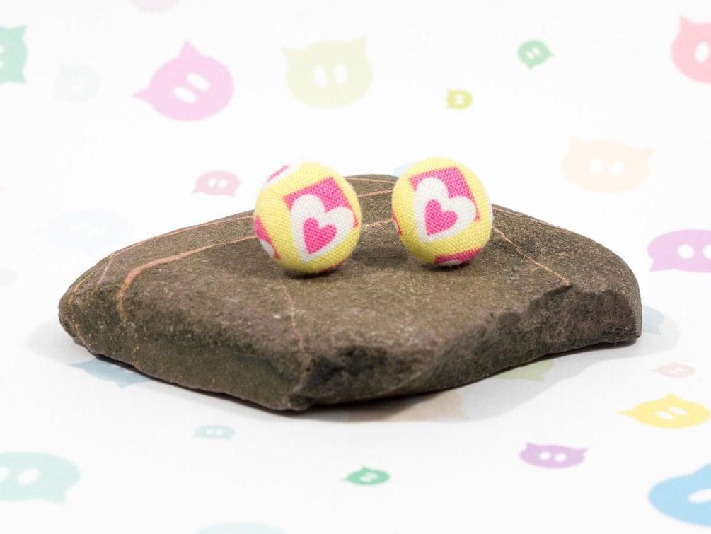 Heart earrings fabric buttons heart pattern handmade buttons button earrings cute gift idea