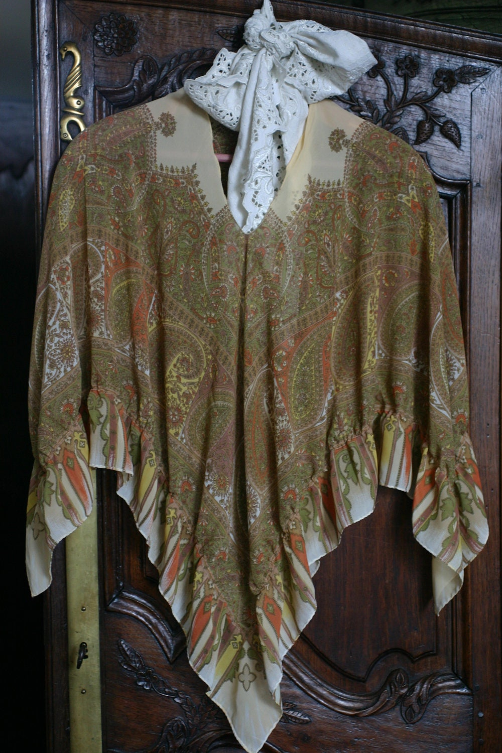 womens accessory, shawl poncho in paisley rustic womens clothing