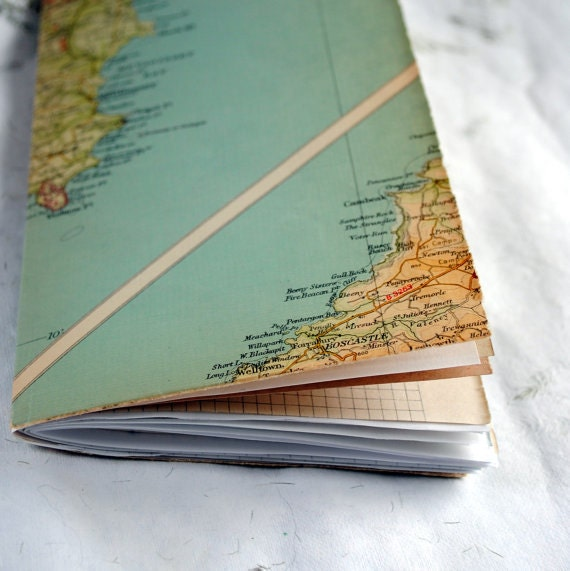 vintage map journal St Austell Cornwall