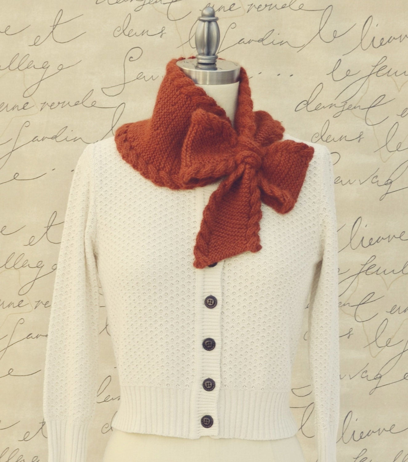 Bow Tie Ascot PDF Knitting Pattern Instant by PamPowersKnits