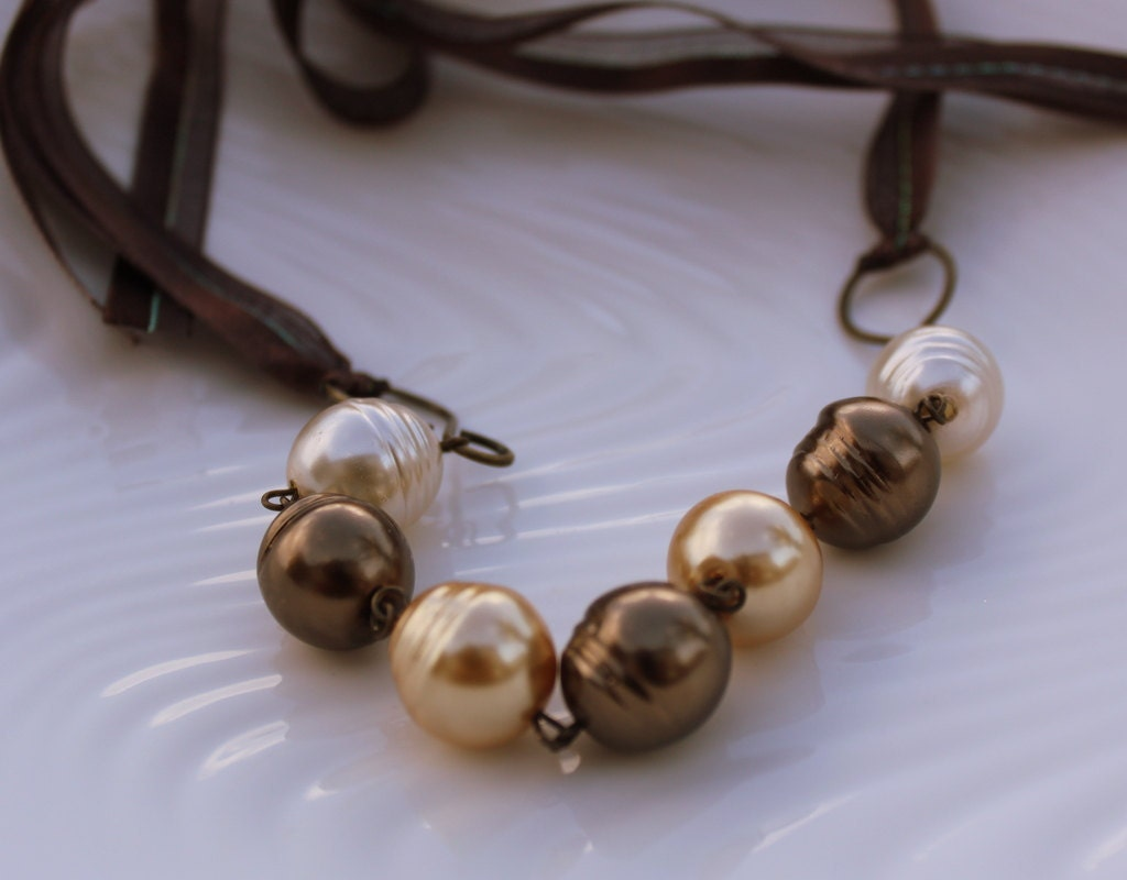 Romantic Pearl and Ribbon Necklace - Brown Pearl Necklace - DreamzBoutique