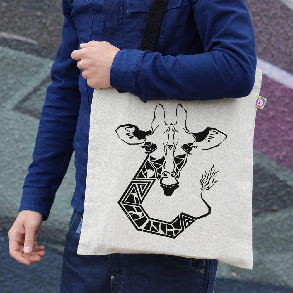 Cool Gift Gift For Her Giraffe Print Canvas Tote Bag Hemp Bag Shopping Tote Beach Bag Shoulder Bag Animal Print Tote Reusable TT002