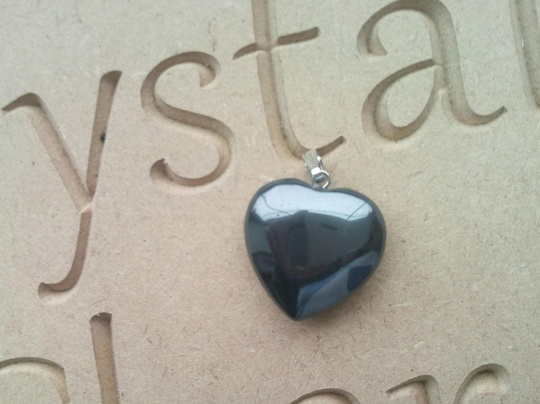 Reiki Charged Hematite Heart Pendant Crystal Pendant