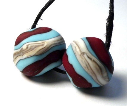 Turquoise & Deep Red...Organic Nugget Lampwork Beads