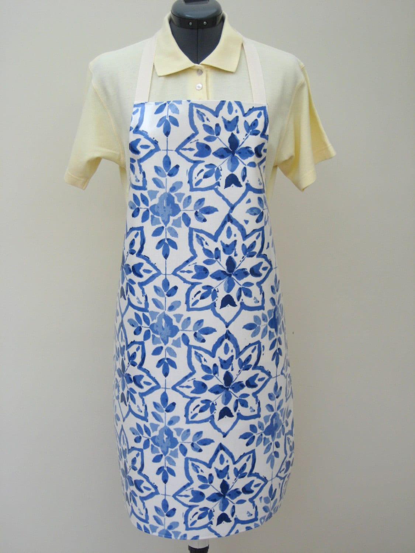 Oilcloth Apron  Blue Geometric Flower Print Adult PVC Apron Waterproof Apron