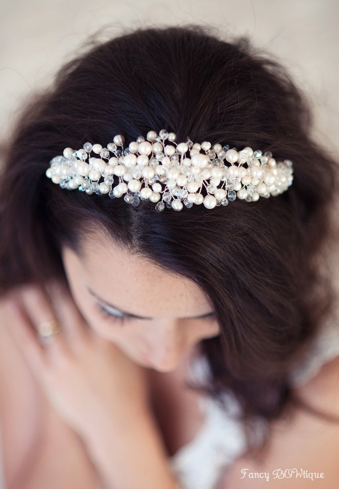 Wedding tiaras, Pearl Bridal Tiara, bespoke bridal headpiece, luxurious Bridal headband-Anatolia