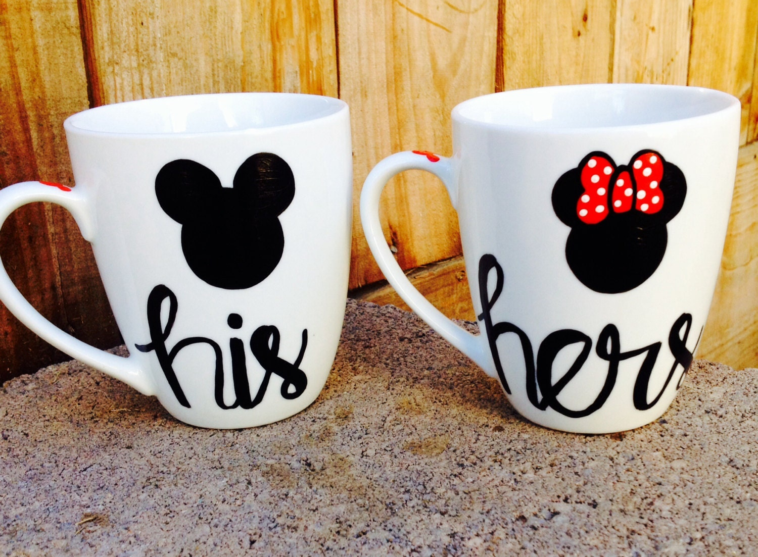 his and hers mickey and minnie coffee mugs set of by. Black Bedroom Furniture Sets. Home Design Ideas