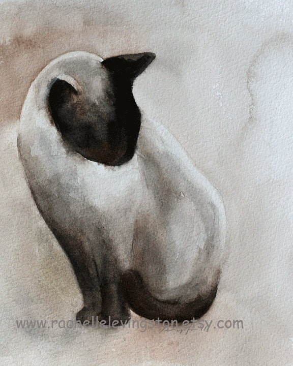print Cat PRINT art cat art print cat black brown 8x10 cute Halloween art print cat wall art Siamese wall decor from watercolor cat painting - rachellelevingston