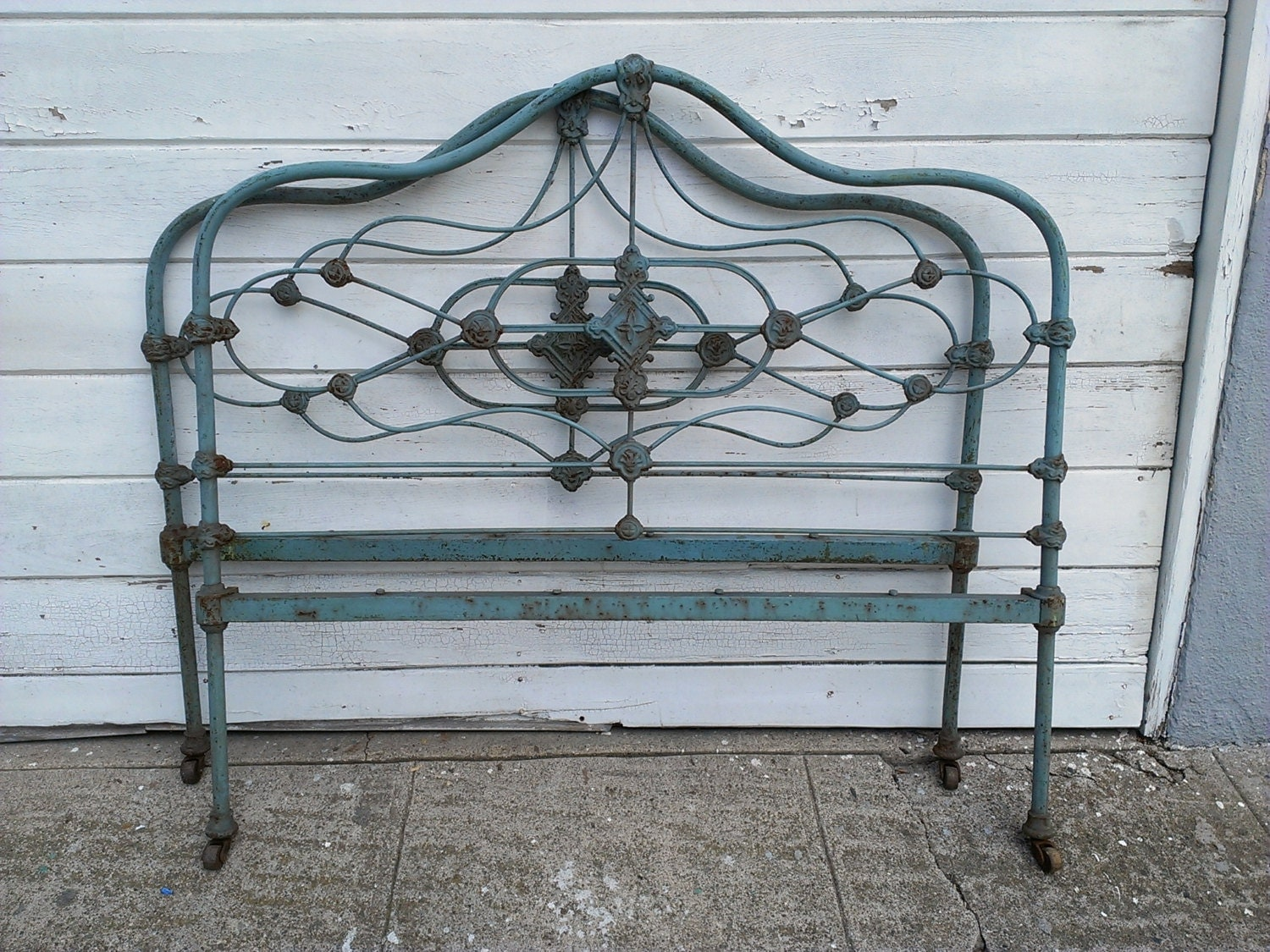 Blue Antique Cast Iron Bed Frame Reserved By Dreaminparis