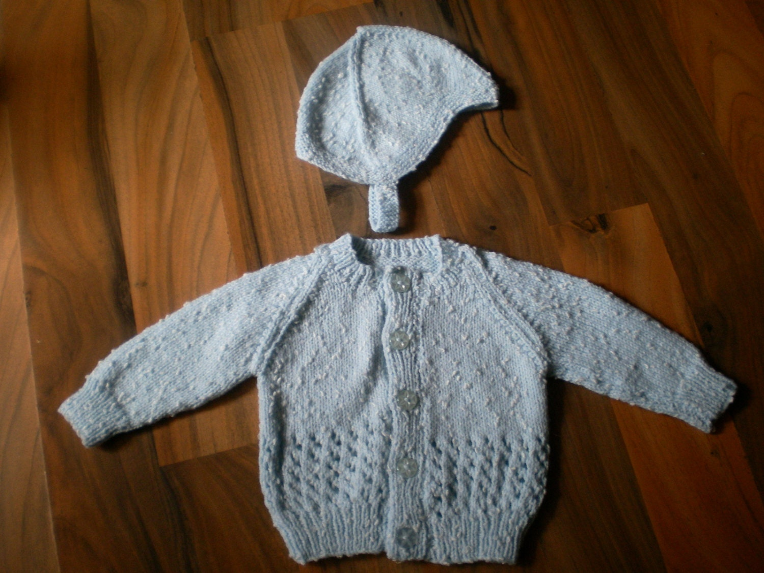 cute little hand knitted baby cardigansweater and hat set blue mix 03 month