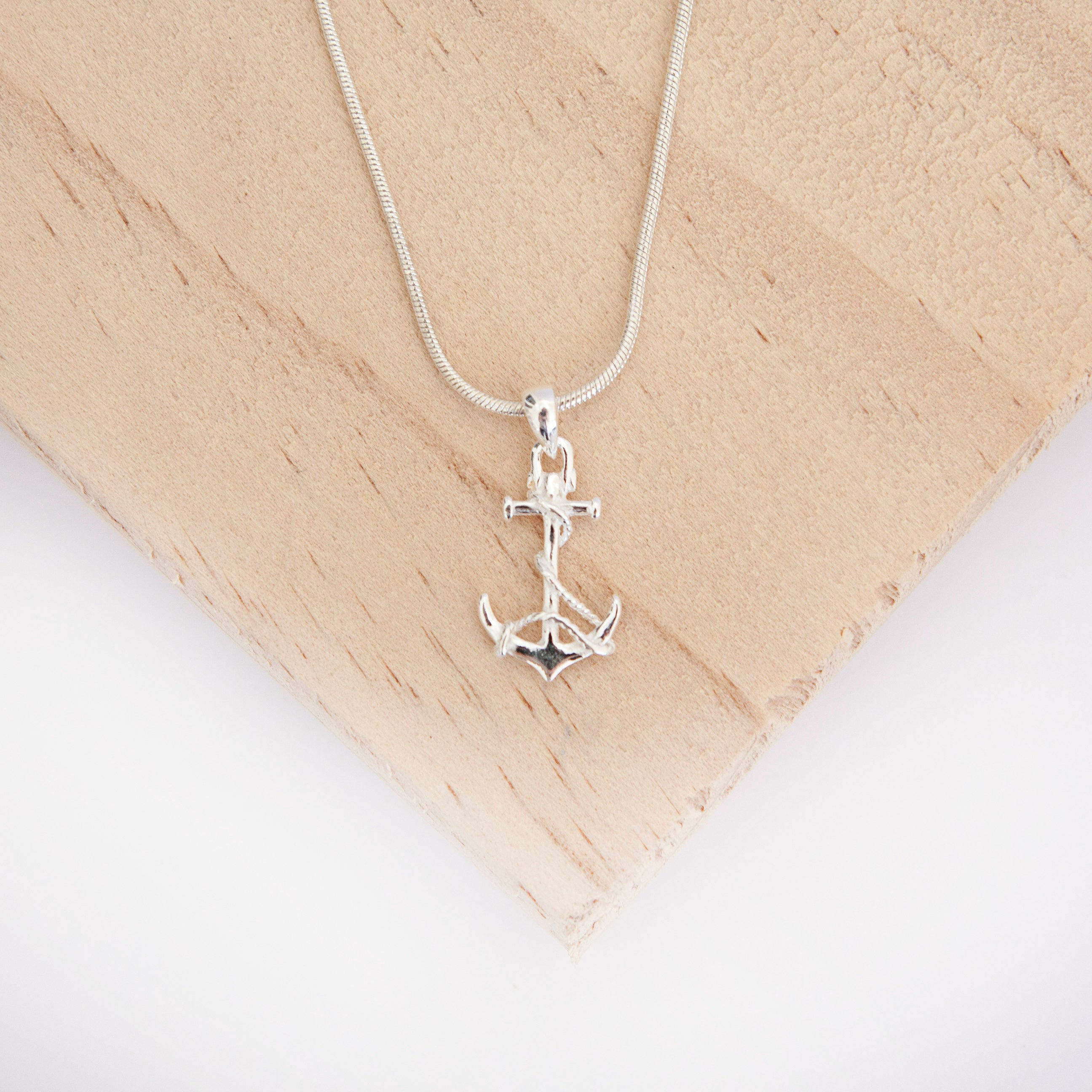 Mariko Anchor Pendant Sterling Silver Ship Anchor Nautical Jewellery Anchor Necklace Anchor Jewelry I Will Not Sink Anchor with Rope