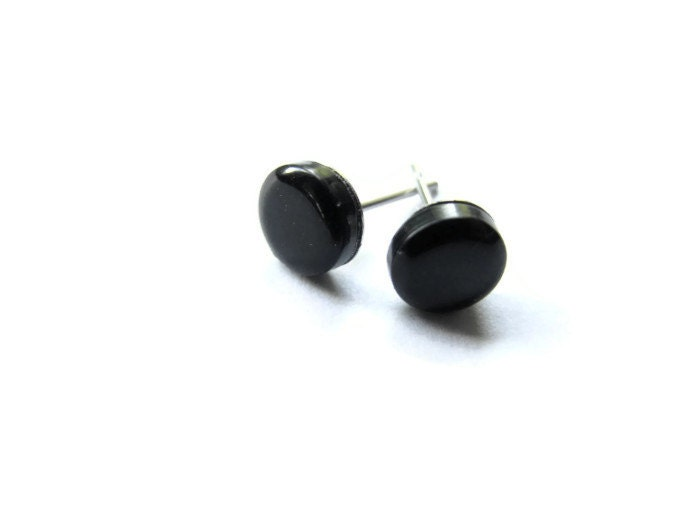 mens black stud earring small post unisex by foxiesfancy
