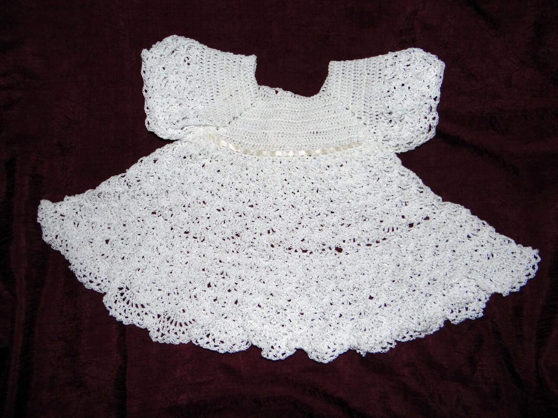 Crochet Baby Doily Party Dress Size 0-3 by ChunkyBabyCrochet
