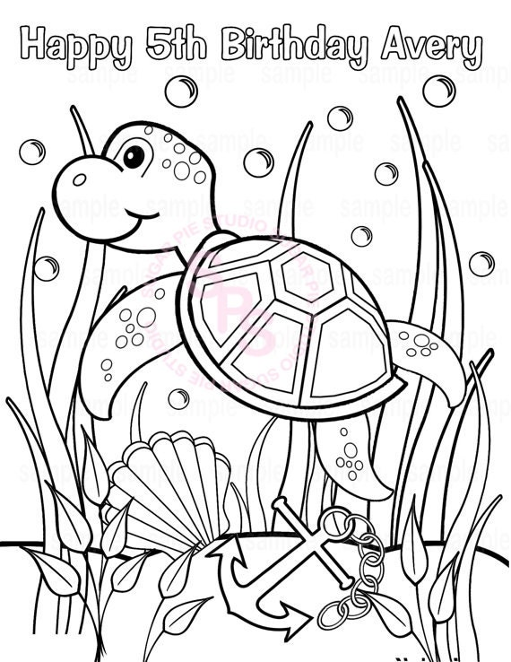 coloring pages under the sea - personalized printable sea turtle under the sea by