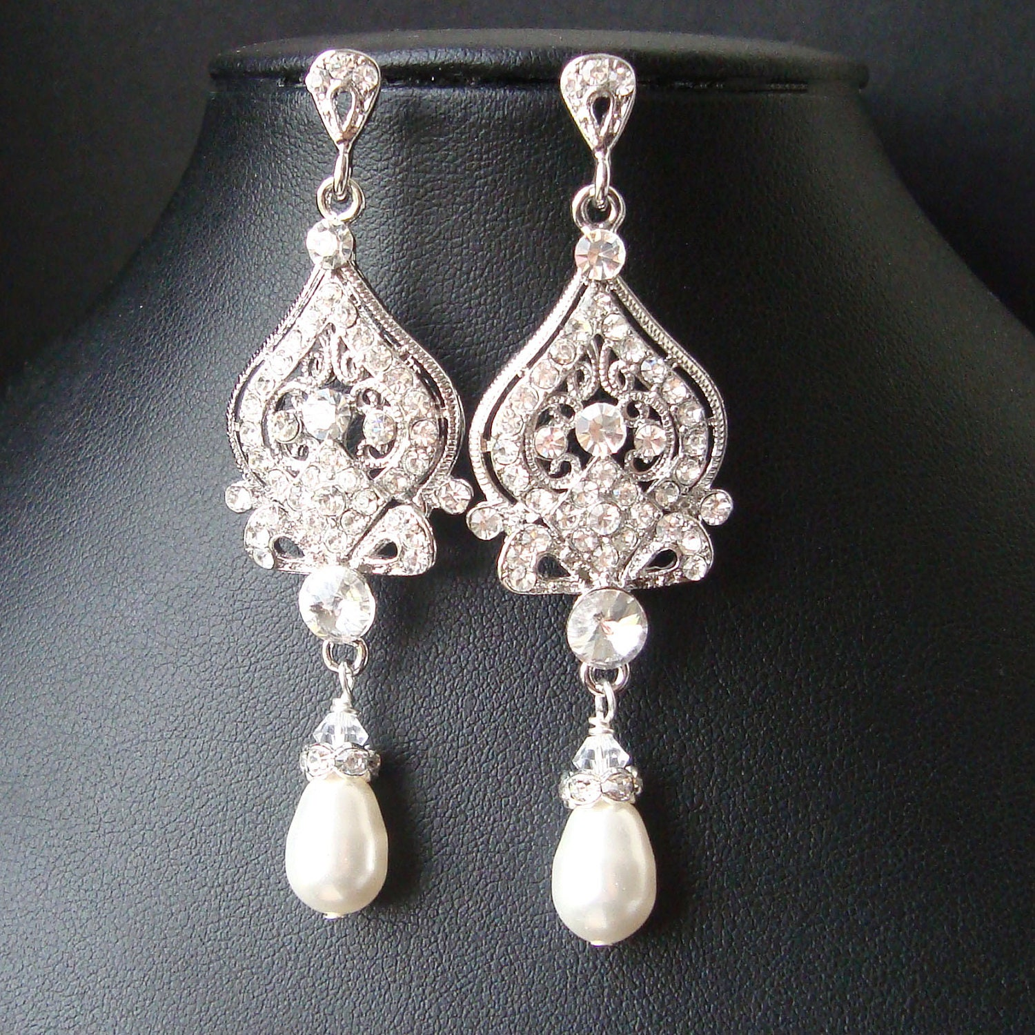 Vintage Inspired Wedding Bridal Earrings Pearl and by luxedeluxe