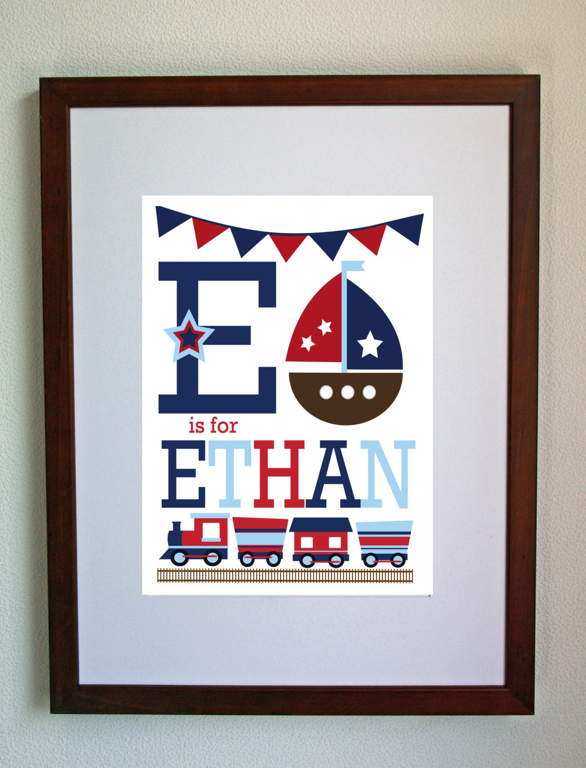 Custom Boy's Print - Personalised Unique Child's or Baby's Art Print  GREAT CHILDREN'S GIFT idea -  Unframed