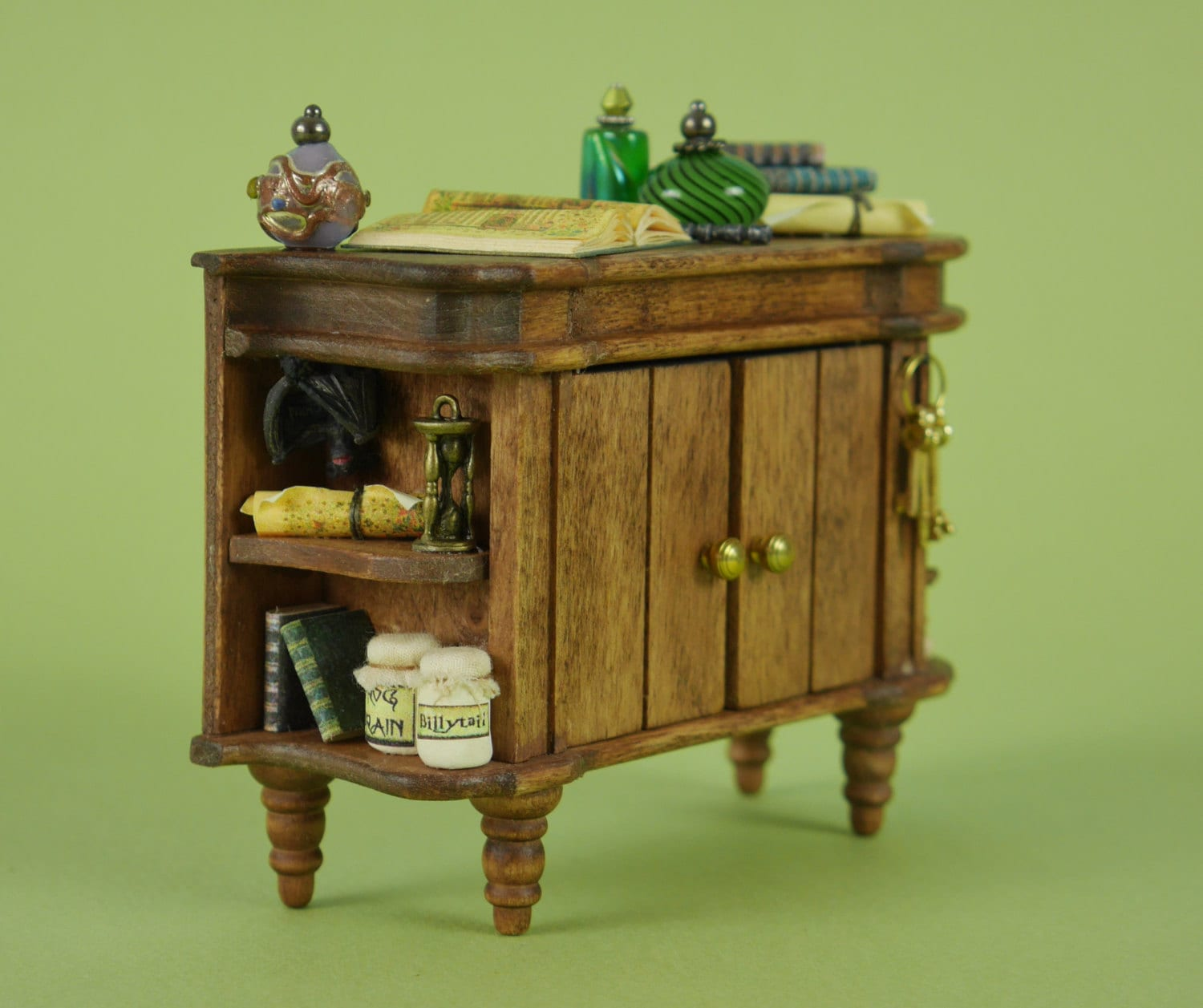 Witches Potion Cupboard  112 or 112 Scale Dollhouse Miniature Rustic Furniture for Making Spells Witches or Wizards Cottage or Scene